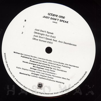 Cover art - Octave One: Just Don't Speak (feat. Ann Saunderson)