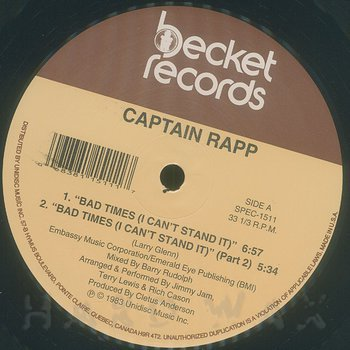 Cover art - Captain Rapp: Bad Times (I Can't Stand It)