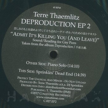Cover art - Terre Thaemlitz / DJ Sprinkles: Deproduction EP 2