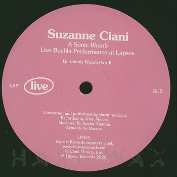 Cover art - Suzanne Ciani: A Sonic Womb: Live Buchla Performance at Lapsus