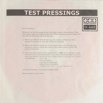 Cover art - Demdike Stare: Testpressing #003