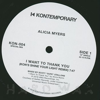Cover art - Alicia Myers: I Want To Thank You (KON's Shine Your Light Remix)