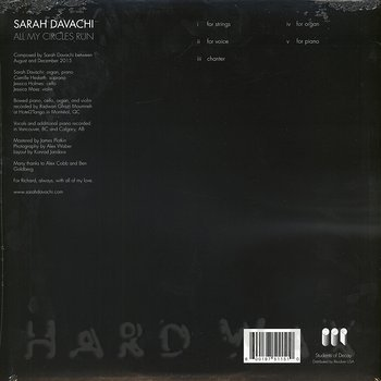 Cover art - Sarah Davachi: All My Circles Run