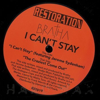 Cover art - Bratha: I Can't Stay (feat. Jerome Sydenham)