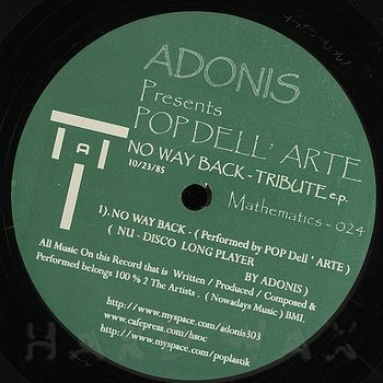 Cover art - Adonis: Pres. Pop Dell' Arte No Way Back Tribute E.P.