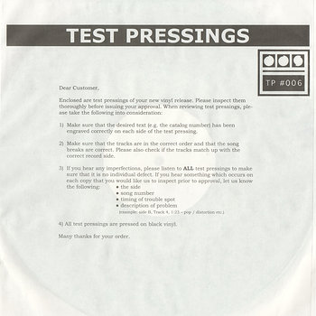 Cover art - Demdike Stare: Testpressing #006