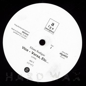Cover art - Eliane Radigue: Vice - Versa, Etc.