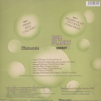 Cover art - Matumbi: Dub Planet Orbit 1